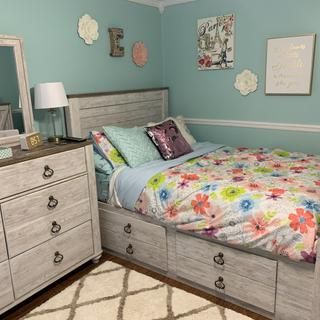 My 9 year old loves her new bedroom set! There is plenty of places to put her toys and clothes.