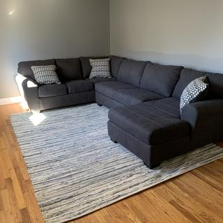 Impressed with this sectional. Very comfortable and fits perfectly in our living room.