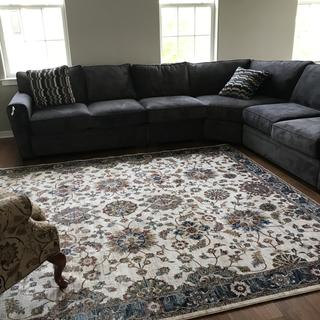 Great Room is looking Great with this sectional and area rug from Raymour.  We love this room
