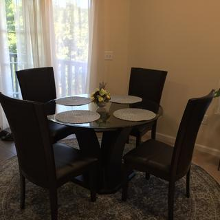 Love our new dining room set! Fits the space perfectly and has a contemporary, artful feel.