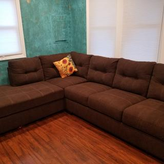 It is a great couch. The material is very kid friendly and we love the size of the bed.
