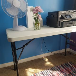 The table was easy to set up and is the perfect size for the corner of my office for the printer.