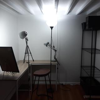 I record all my online tutorials here the wire rack fits in perfectly. Holds my materials.