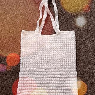 Crocheted tote bag made from Uniti white cotton yarn