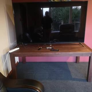 TV on 2 metre outdoor dining table