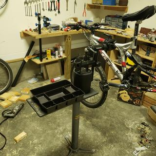 My custom bike stand. The Foundation being the center piece, of cours.