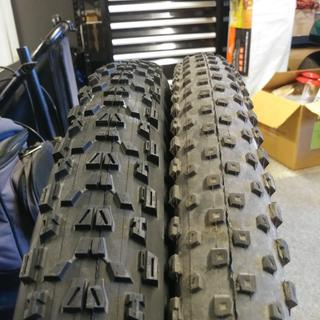 Maxxis Ardent on the left and Bontragers on the right.