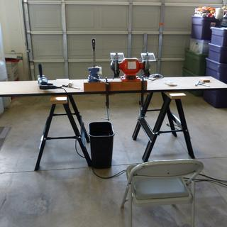 "Simple metal fab workbench. I only needed  a 4"" vice and 8"" bench grinder from Harbor Freight Tools."