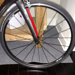 DT Swiss R24 Spline front wheel with stickers removed