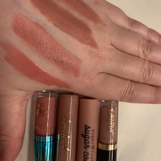 Swatches: H20 gloss, Cake Pop Sugar Rush, Tartist Birthday Suit, Quick Dry Matte Lip Paint Rosy Nude