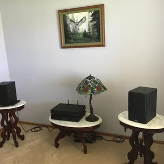 Audiolab 6000 components with ELAC uni-fi 5B speakers. It fills up this small space