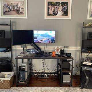 Sorry for the messy set up… New, bigger desk and speaker stands will be arriving, soon LOL