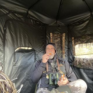 Warm and comfortable inside the blind, time for a snack.