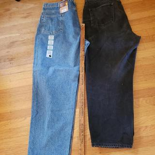 Too LARGE.  Compare Carhartt Relaxed Fit 44W, 32L  vs.  LL Bean Relaxed Fit 44W, 32L .