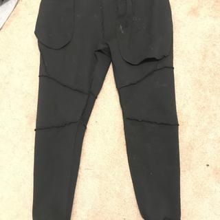 staining on front inside of all black pants
