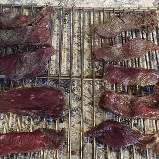 Cured jerky ready for smoker