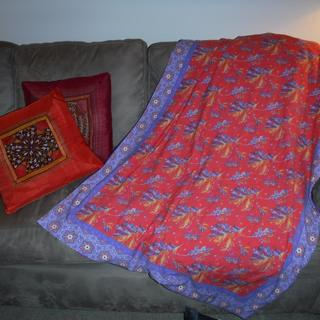 ce86724ef14 Lightweight lined blanket made from one yard of Spoonflower Cotton Spandex Jersey  Fabric.