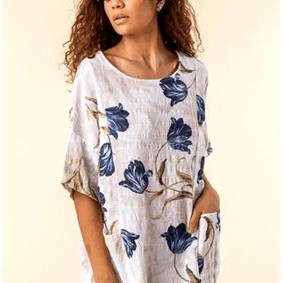 Pocket Detail Flower Print Top