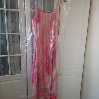 Pleated tie dye maxi dress