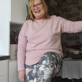 Lovely grey crinkle floral joggers