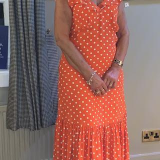 Wearing polka dot dress on my wedding anniversary