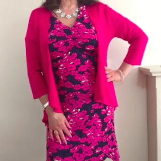Dress with pink cardigan
