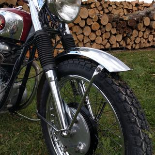 Front tire on the BSA motorcycle