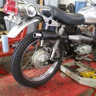 Rear tire installed on 1972 hodaka wombat