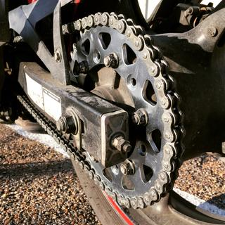 Fresh install of the DID chain and sprocket set. Sprocket set by JT Sprockets.