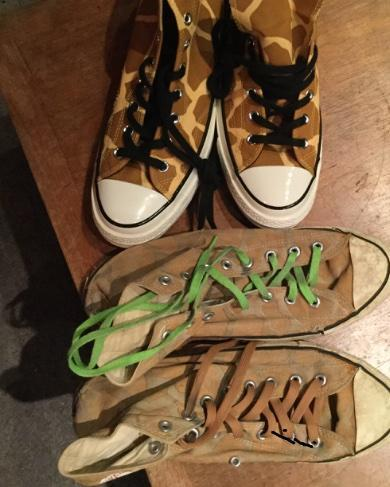 My original giraffe chucks are my all time favorites, and ai was stoked to see they were reprinting them. A little sad though, that the new ones aren't glow in the dark, like the originals were. Maybe I will have to find some glow in the dark paint!