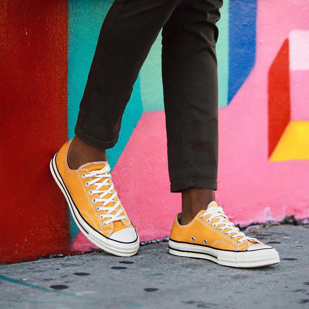 I like the low tops because they look really good with cropped pants. I chose the yellow for something different and I definitely get a lot of compliments in public when I wear them. I usually where a size 10 but I went down a size since for me converse tend to run a little big. Converse gifted me these sneakers but I would still buy them myself as they are are such classics and super comfy!