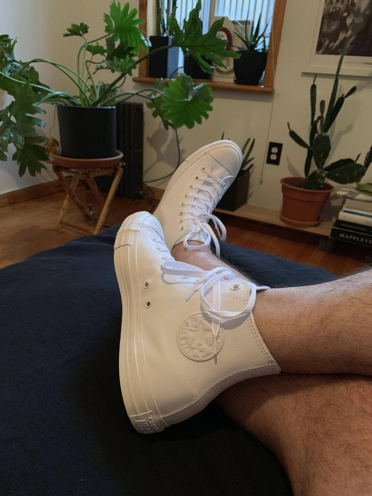 Super chic! I get so many complements on them walking around Brooklyn. Thinking about going full craft dad on them — the all white is such an inviting canvas! Can't wait to get the back ones next. These sneakers were gifted from Converse in exchange for an honest review.