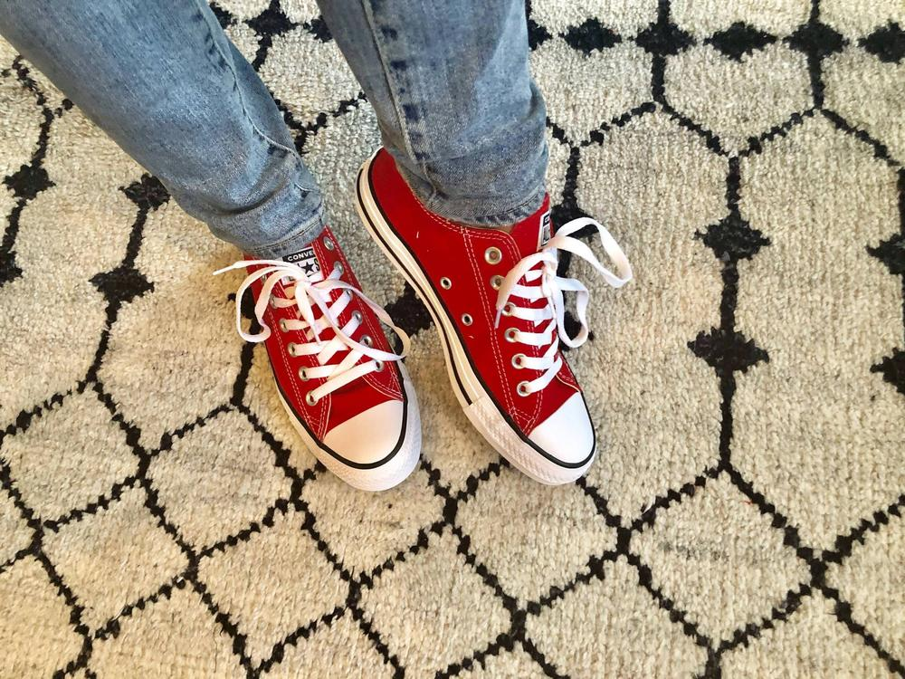 love the classic style of these shoes and how they can be dressed up and worn with a skirt or down paired with my usual yoga pants. They do run large. I sized down a whole size (I know some people who only size down a half-size). Converse gifted me these sneakers