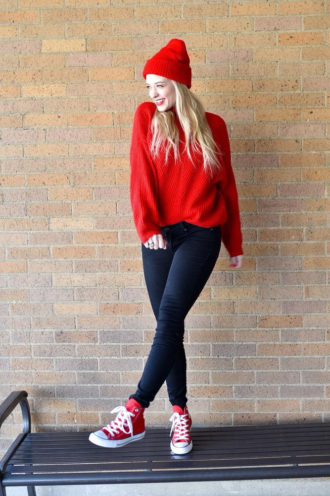 Converse gifted me these sneakers* I love these red chucks! They are so easy to pair with jeans for a causal look with a chunky sweater. I also dressed them up by pairing them with a skirt. They are the perfect shoe.