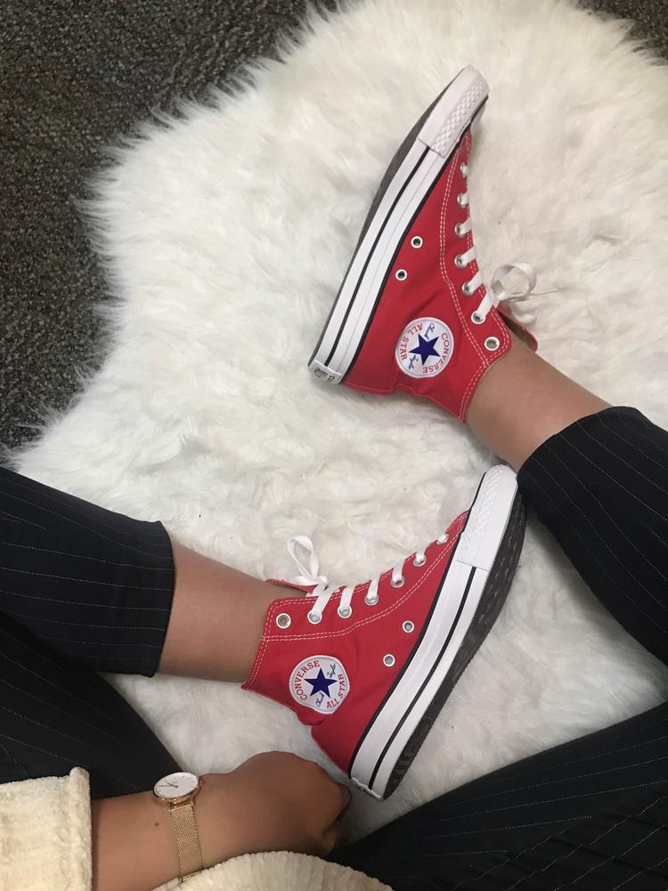 I received these shoes in exchange for a review but I've probably owned SO many pairs of converses in my lifetime. I usually buy black or white (I had a neon pink one when I was younger), so I decided to get a pair of red high tops to switch it up a little! These are super comfortable and fun to wear. They run pretty true to size (a tiny bit big, if anything) and I like leaving the top holes unthreaded. But would highly recommend!! So cute and so easy to pair with other clothing pieces.