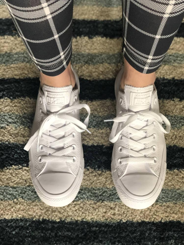 I received these shoes in exchange for a review and I absolutely love them! They are immediately comfortable and run true to size. I love how classic and practical they are and the white, leather material elevates them which only adds to their versatility. You can wear them with jeans, athletic wear or even style them with a casual dress or skirt to give a more sporty vibe!