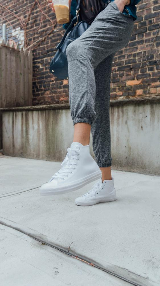 Converse are a sneaker that you wear again and again with almost anything so styling* is easy. I'm so hyped on my all white leather pair though, a little twist on the classic colorway/fabric. Thanks to Converse for gifting me these shoes for the review.