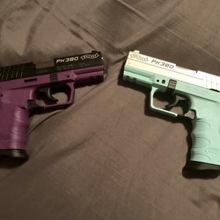 Purple is hers blue is mine