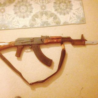 After.Surplus Russian AKM IZHMASH furniture,bakelite grip,East German bayonet,cleaning rod,sling.