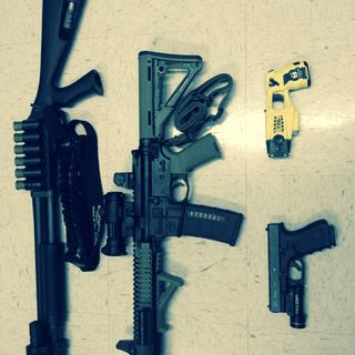 GLOCK 23, 4th Generation. Remington 870 Tactial. Daniel Defense SBR. Tazer X26.
