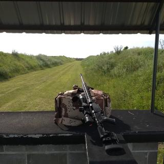 Shoots slightly under MOA at 300 with Hornady Black