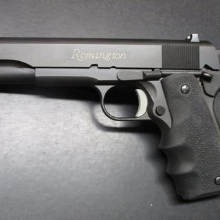 Truly enjoy my new Remington 1911 45acp. Added a Hogue finger grip & gold colored in the lettering!