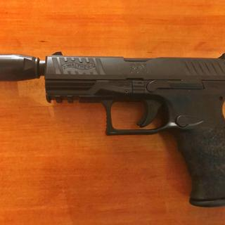 PPQ M2 Navy 9mm with a Kaw Valley Precision 9MM 1/2x28 Black Oxide Linear Comp installed.