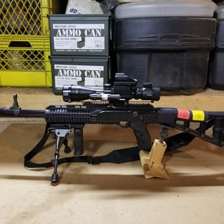 Hi-Point Carbine Semi Auto Rifle 9mm 16 5 Inch 20 Rd Forward Grip  Skeletonized Stock Black