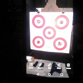 Target  2,3,4 and 5 have 25 rounds in it. The  distance was about 22 feet. This is a awesome gun.