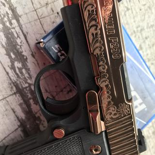 Maddy_ar loves her new Sig Sauer p238 Rose Gold! Look at that engraving!