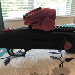 Custom over sized bolt handle , over sized safety , top rail and red dot reflex sight