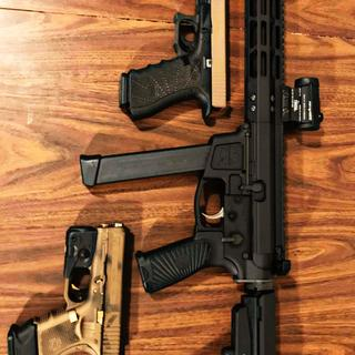 FOXTROT MIKE AR-9MM with Wilson Combat grip, Aimpoint Micro H1, and SBA3 tactical brace w/glocks