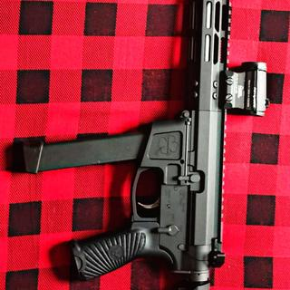 FOXTROT MIKE AR-9MM with Wilson Combat grip, Aimpoint Micro H1, and SBA3 tactical brace