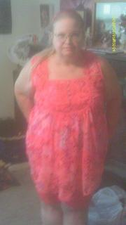 "Me in the ""pink floral print"", which is actually a coral pink. Normally wear with capris."